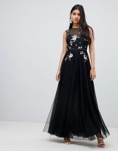 Read more about Little mistress floral embellished bodice maxi dress in black - black