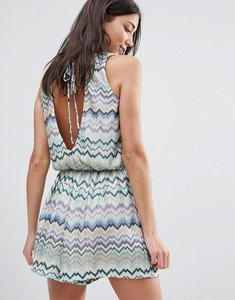 Read more about Traffic people swirl print dress with tie back - blue