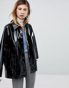 Read more about Monki vinyl popper detail jacket - black