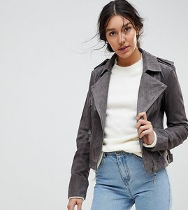 Read more about Asos tall suede biker jacket - grey