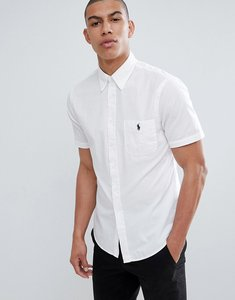Read more about Polo ralph lauren slim fit short sleeve seersucker shirt with player logo in white - white