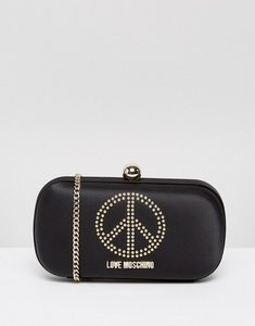 Read more about Love moschino satin clutch bag with embellishment - red