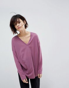 Read more about Asos top with v-neck in oversized lightweight rib - mauve purple