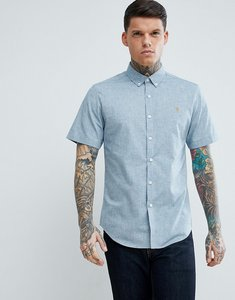 Read more about Farah steen slim fit short sleeve textured oxford shirt in grey - 993 stellar