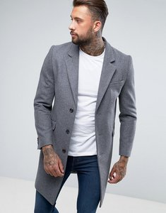 Read more about Asos design wool mix overcoat in light grey - light grey