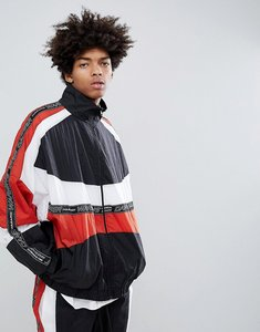 Read more about Granted poly sports panelled taping track jacket in black - black