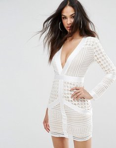 Read more about Missguided lace plunge bodycon dress - white