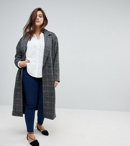 Read more about Unique 21 hero longline coat in heritage check - grey check