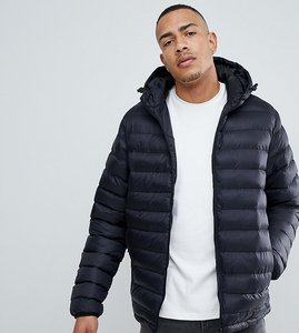 Read more about French connection tall padded hooded jacket - black
