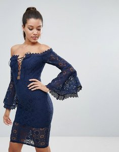 Read more about Love triangle allover lace off shoulder pencil dress with lace up detail - navy