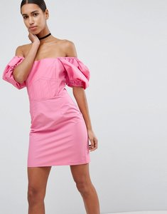 Read more about Asos off shoulder puff sleeve mini dress - hot pink