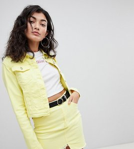 Read more about Prettylittlething denim jacket - yellow