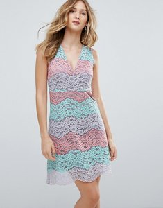 Read more about Traffic people v neck striped lace midi dress - blue purple