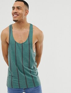 Read more about Asos design tall striped extreme racer back vest in textured fabric - green