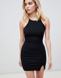 Read more about Prettylittlething high neck bodycon dress - black