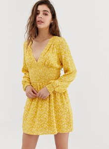 Read more about Wild honey long sleeve tea dress with shirring in floral