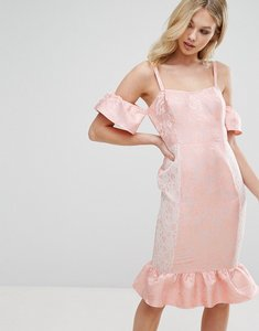 Read more about Missguided frill peplum midi dress - pink