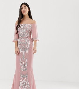 6944f650 Read more about Maya petite all over embellished bardot maxi dress with  fluted sleeves in vintage