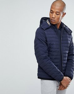 Read more about Aquascutum emmett padded crest logo hooded jacket in navy - navy