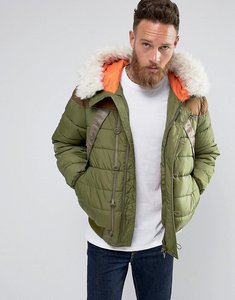 Read more about Hunter hooded fur lined bomber jacket in green - baa