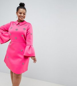 Read more about Asos design curve scuba embellished a-line mini dress - pink