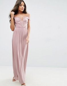 Read more about Asos wedding ruched mesh bardot maxi dress - dusky pink