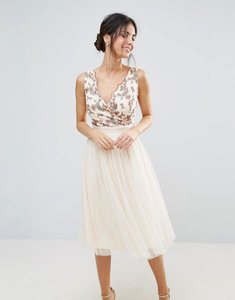 Read more about Little mistress tulle midi dress with embroidered bodice - beige