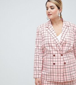 Read more about Unique21 hero plus longline double breasted blazer in pink check co-ord - pink check