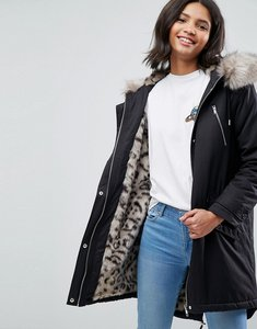Read more about Asos parka with snow leopard faux fur liner - black