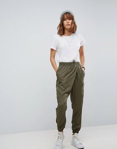 Read more about Asos woven wrap front utility jogger with clean cuff - khaki