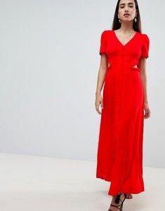 Read more about Asos design button through maxi dress - red