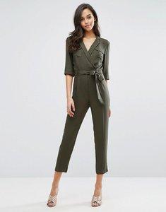 Read more about Miss selfridge 3 4 sleeve utility jumpsuit - khaki