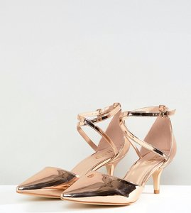 Read more about Raid wide fit lyla kitten heel court shoe - rose gold metallic