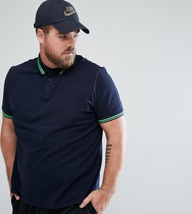Read more about Asos tipping collar and cuff pique polo shirt - nvy spring green