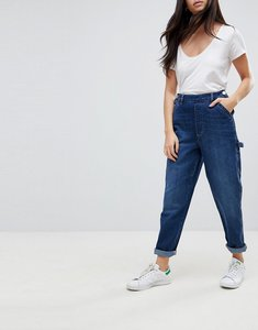 Read more about Asos design carpenter jeans with button front detail in mid wash - mid wash blue