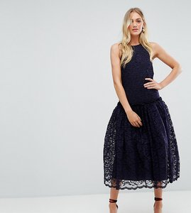 Read more about Asos tall lace smock drop waist midi dress - navy