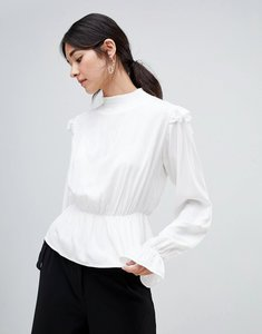 Read more about Vila high neck victorianan blouse - snow white