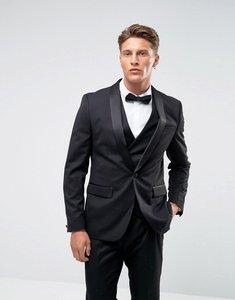 Read more about Farah skinny tuxedo suit jacket - black