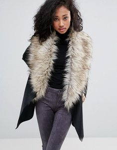 Read more about Urban bliss waterfall coat with wide faux fur collar - black