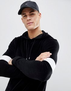 Read more about Asos muscle hoodie in black velour with colour blocking - black