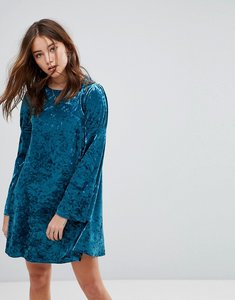 Read more about Glamorous long sleeve swing dress in crushed velvet - blue