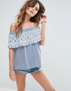 Read more about Asos stripe off shoulder top with embroidery - blue white