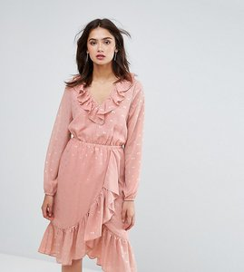 Read more about Y a s tall spot ruffle wrap dress - rose