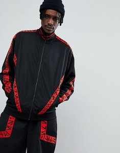 Read more about Asos x star wars oversized poly tricot track jacket with printed tape - black