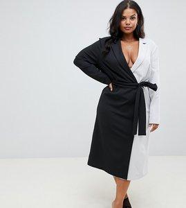 Read more about Asos design curve soft tux wrap midi dress in colour block