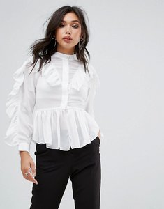 Read more about True decadence ruffle detail blouse - white
