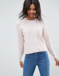 Read more about Asos jumper in fluffy yarn with crew neck - blush