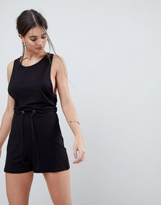 Read more about Asos minimal jersey playsuit with racer back - black