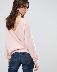 Read more about Asos jumper with v back detail - nude