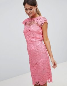 Read more about Paper dolls lace dress with scalloped back - coral